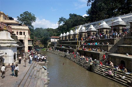 Pashupatinath Cremation site on the Bagmati River, Kathmandu, Nepal, Asia Stock Photo - Rights-Managed, Code: 841-05795816