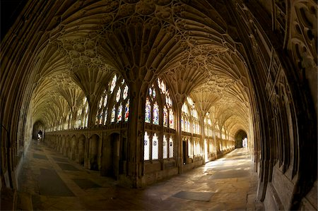 14th century fan vaulting in the Great Cloisters, Gloucester Cathedral, Gloucester, Gloucestershire, England, United Kingdom, Europe Stock Photo - Rights-Managed, Code: 841-05796013