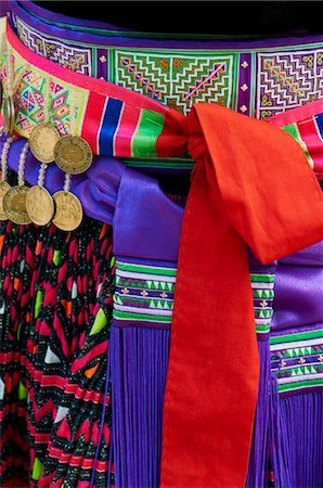 Detail of traditional dress of Hmong woman, Lao New Year Festival, Luang Prabang, Laos, Indochina, Southeast Asia, Asia Stock Photo - Rights-Managed, Code: 841-05796421
