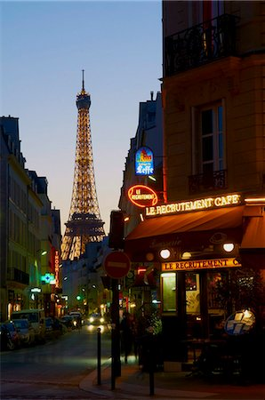 Eiffel Tower in the evening, Paris, France, Europe Stock Photo - Rights-Managed, Code: 841-05796563