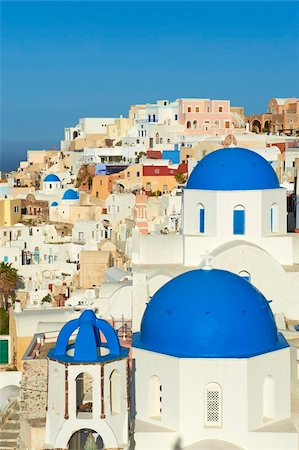 Church with blue dome, Oia (Ia) village, Santorini, Cyclades, Greek Islands, Greece, Europe Stock Photo - Rights-Managed, Code: 841-05796729