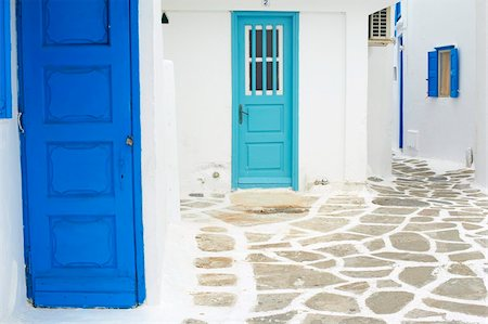 Doors and windows, Chora, Mykonos town, Mykonos, Cyclades, Greek Islands, Greece, Europe Stock Photo - Rights-Managed, Code: 841-05796721
