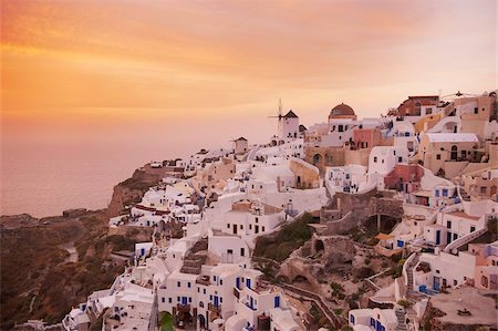 Oia (Ia) village and windmill, Santorini, Cyclades, Greek Islands, Greece, Europe Stock Photo - Rights-Managed, Code: 841-05796737