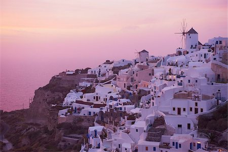 Oia (Ia) village and windmill, Santorini, Cyclades, Greek Islands, Greece, Europe Stock Photo - Rights-Managed, Code: 841-05796741