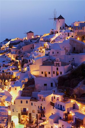 Oia (Ia) village and windmill, Santorini, Cyclades, Greek Islands, Greece, Europe Stock Photo - Rights-Managed, Code: 841-05796742