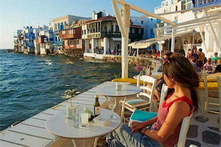 Cafe bar on the sea side, Little Venice, Alefkandra, Mykonos Town, Chora, Mykonos Island, Cyclades, Greek Islands, Greece, Europe Stock Photo - Rights-Managed, Code: 841-05796764