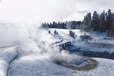Winter landscapes and geothermal spring at Upper Geyser Basin, Yellowstone National Park, UNESCO World Heritage Site, Wyoming, United States of America, North America Stock Photo - Rights-Managed, Code: 841-05797064