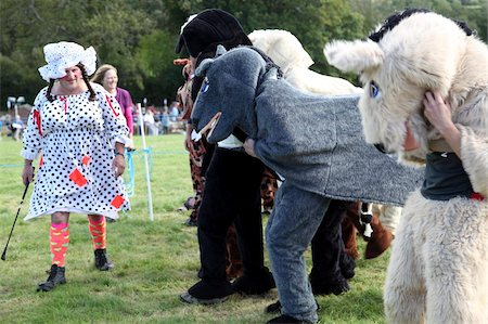 Pantomime horse race with Dame as starter, Widecombe Fair, Dartmoor, Devon, England, United Kingdom, Europe Stock Photo - Rights-Managed, Code: 841-05845748