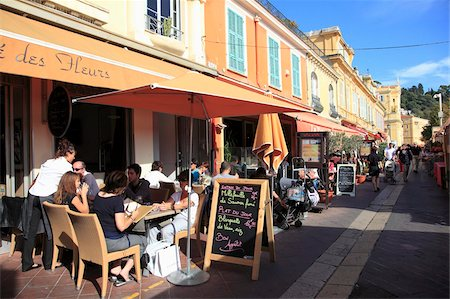Cafe, Cours Saleya, Old Town, Nice, Alpes Maritimes, Provence, Cote d'Azur, French Riviera, France, Europe Stock Photo - Rights-Managed, Code: 841-05846758