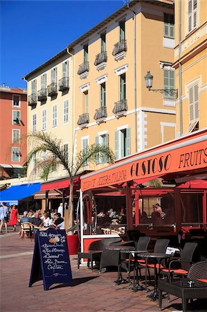 Cafe, Cours Saleya, Old Town, Nice, Alpes Maritimes, Provence, Cote d'Azur, French Riviera, France, Europe Stock Photo - Rights-Managed, Code: 841-05846753