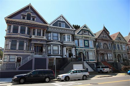 Victorian houses architecture, Haight Ashbury District, The Haight, San Francisco, California, United States of America, North America Stock Photo - Rights-Managed, Code: 841-05846819