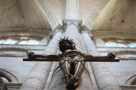 religious cross nobody - Crucifix, St. Stephen's Cathedral, Sens, Yonne, Burgundy, France, Europe Stock Photo - Rights-Managed, Code: 841-05846891
