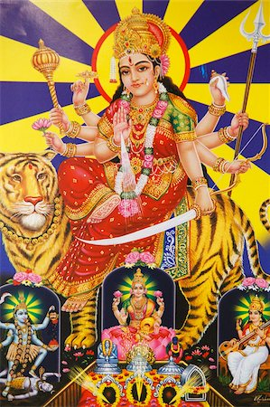 Picture of Hindu goddess Durga, India, Asia Stock Photo - Rights-Managed, Code: 841-05846900
