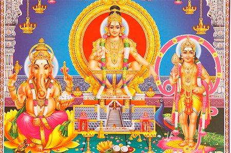 represented - Picture of Hindu gods Ganesh, Ayappa and Subramania, India, Asia Stock Photo - Rights-Managed, Code: 841-05846901