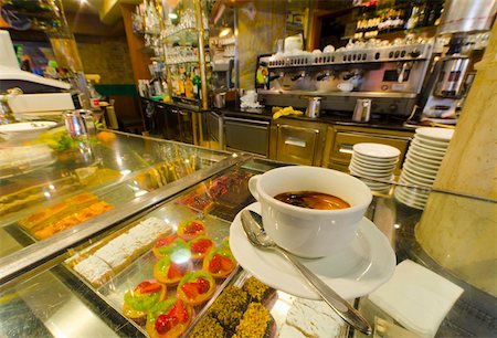 european cafe bar - Caffe espresso on a counter of cakes, Venice, Veneto, Italy, Europe Stock Photo - Rights-Managed, Code: 841-05847353