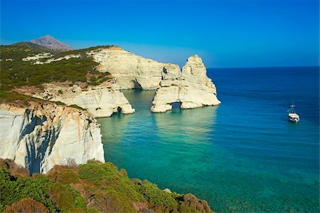 Kleftiko bay, white cliffs of Kleftiko, Milos, Cyclades Islands, Greek Islands, Aegean Sea, Greece, Europe Stock Photo - Rights-Managed, Code: 841-05847490