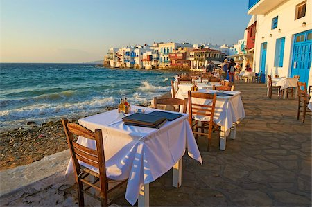 Little Venice, Alefkandra district, The Chora (Hora), Mykonos, Cyclades Islands, Greek Islands, Aegean Sea, Greece, Europe Stock Photo - Rights-Managed, Code: 841-05847558