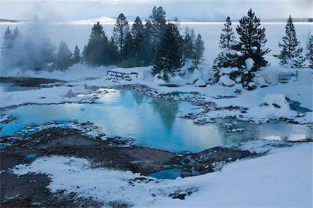 West Thumb Basin winter landscape, Yellowstone National Park, UNESCO World Heritage Site, Wyoming, United States of America, North America Stock Photo - Rights-Managed, Code: 841-05847775