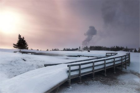 Upper Geyser Basin winter landscape, Yellowstone National Park, UNESCO World Heritage Site, Wyoming, United States of America, North America Stock Photo - Rights-Managed, Code: 841-05847793