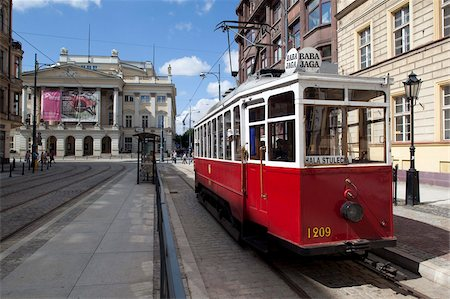 City tram and Opera House, Old Town, Wroclaw, Silesia, Poland, Europe Stock Photo - Rights-Managed, Code: 841-05848006