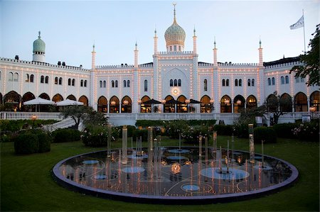 Pavilion at dusk, Tivoli Gardens, Copenhagen, Denmark, Scandinavia, Europe Stock Photo - Rights-Managed, Code: 841-05848108