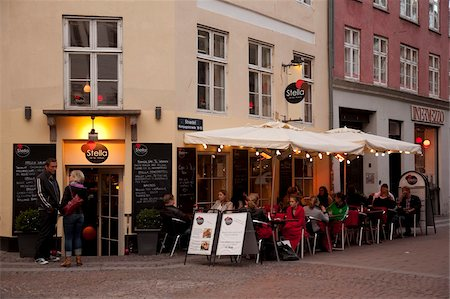 City cafe at dusk, Copenhagen, Denmark, Scandinavia, Europe Stock Photo - Rights-Managed, Code: 841-05848103