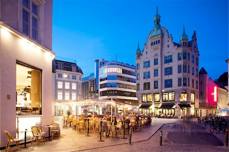 Restaurants at dusk, Armagertorv, Copenhagen, Denmark, Scandinavia, Europe Stock Photo - Rights-Managed, Code: 841-05848145