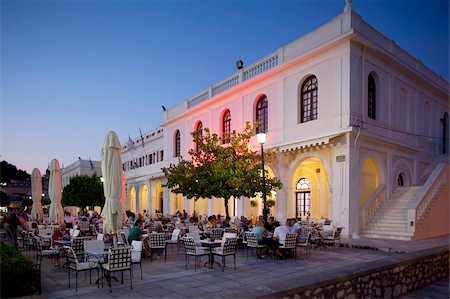 Restaurant at dusk, Solomos Square, Zakynthos Town, Zakynthos, Ionian Islands, Greek Islands, Greece, Europe Stock Photo - Rights-Managed, Code: 841-05848273