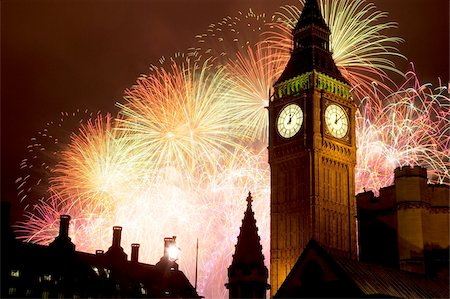 New Year fireworks and Big Ben, Westminster, London, England, United Kingdom, Europe Stock Photo - Rights-Managed, Code: 841-05848348