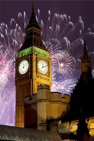 New Year fireworks and Big Ben, Houses of Parliament, Westminster, London, England, United Kingdom, Europe Stock Photo - Rights-Managed, Code: 841-05848354