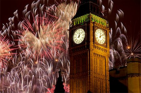 New Year fireworks and Big Ben, Westminster, London, England, United Kingdom, Europe Stock Photo - Rights-Managed, Code: 841-05848350