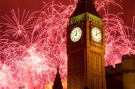 New Year fireworks and Big Ben, Houses of Parliament, Westminster, London, England, United Kingdom, Europe Stock Photo - Rights-Managed, Code: 841-05848351