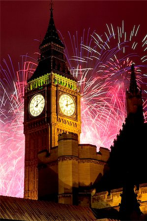 New Year fireworks and Big Ben, Houses of Parliament, Westminster, London, England, United Kingdom, Europe Stock Photo - Rights-Managed, Code: 841-05848353