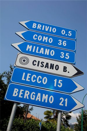 decision - Sign, Lake Como, Lombardy, Italian Lakes, Italy, Europe Stock Photo - Rights-Managed, Code: 841-05848415