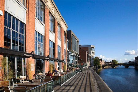 european cafe bar - Riverside bars and restaurants, York, Yorkshire, England, Europe Stock Photo - Rights-Managed, Code: 841-05848450