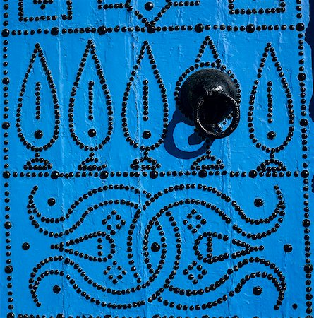 Close up of traditional Tunisian door, Sidi Bou Said, Tunisia, North Africa, Africa Stock Photo - Rights-Managed, Code: 841-05848768