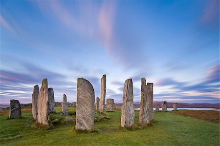 The Lewisian gneiss stone circle at Callanish on an early autumnal morning with clouds forming above, Isle of Lewis, Outer Hebrides, Scotland, United Kingdom, Europe Stock Photo - Rights-Managed, Code: 841-05848792