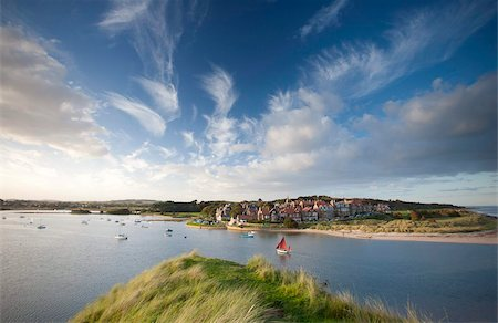 Alnmouth village and the Aln Estuary viewed from Church Hill on a calm late summer's evening with a dramatic sky overhead, Alnmouth near Alnwick, Northumberland, England, United Kingdom, Europe Stock Photo - Rights-Managed, Code: 841-05959824