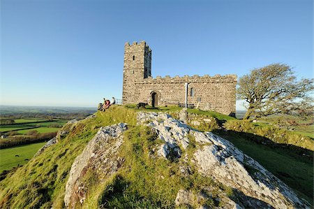 dartmoor national park - St. Michael de Rupe church, Brent Tor, Dartmoor, Devon, England, United Kingdom, Europe Stock Photo - Rights-Managed, Code: 841-05960448