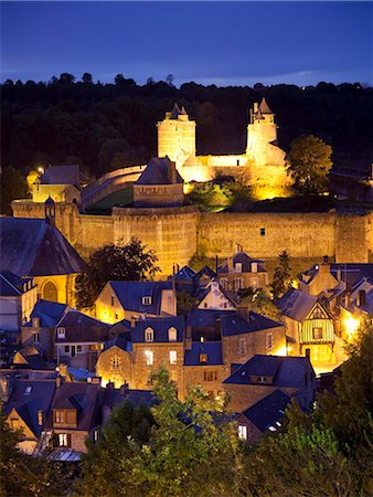 Castle and old town at night, Fougeres, Brittany, France, Europe Stock Photo - Rights-Managed, Code: 841-05960472