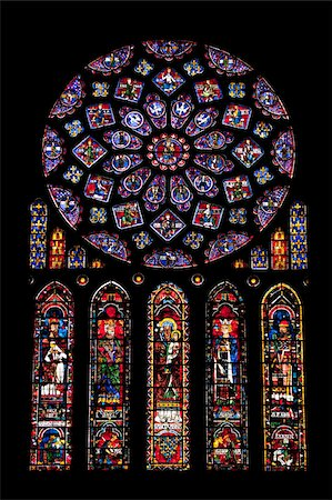 Rose window, Medieval stained glass windows in North Transept, Chartres Cathedral, UNESCO World Heritage Site, Chartres, Eure-et-Loir Region, France, Europe Stock Photo - Rights-Managed, Code: 841-05960487