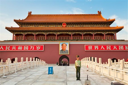 Soldier outside Tiananmen Tower and Chairman Mao's portrait, Gate of Heavenly Peace, Beijing, China, Asia Stock Photo - Rights-Managed, Code: 841-05960653