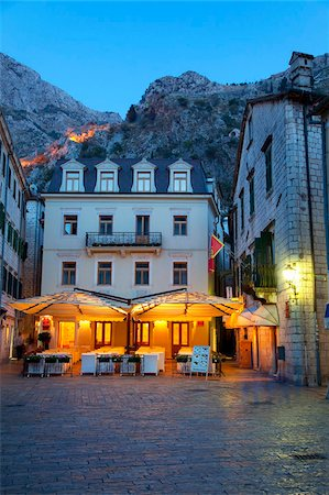 Quiet cafe in the old town of Kotor at night, Kotor, UNESCO World Heritage Site, Montenegro, Europe Stock Photo - Rights-Managed, Code: 841-05961832