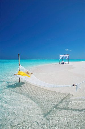 Hammock on tropical beach, Maldives, Indian Ocean, Asia Stock Photo - Rights-Managed, Code: 841-05961992