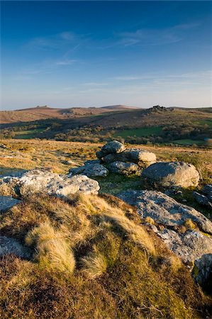 dartmoor national park - Granite outcrops in Dartmoor National Park, looking across to Hound Tor and Hay Tor on the horizon, Devon, England, United Kingdom, Europe Stock Photo - Rights-Managed, Code: 841-05962557