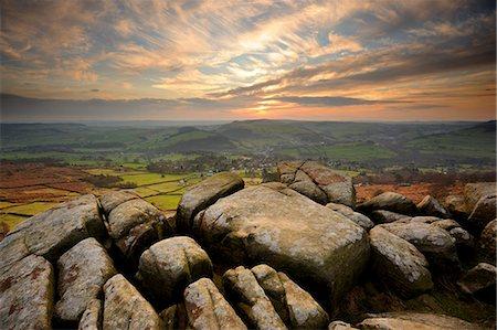 rock - Sunset over Baslow, Curbar Edge, Peak District National Park, Derbyshire, England, United Kingdom, Europe Stock Photo - Rights-Managed, Code: 841-06034430
