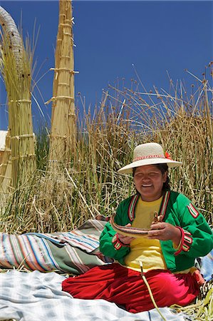 peru and culture - Portrait of a Uros Indian woman, Islas Flotantes (Floating Islands), Lake Titicaca, Peru, South America Stock Photo - Rights-Managed, Code: 841-06034487