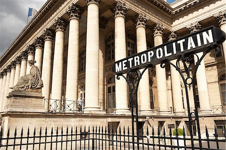 stock exchange building - Stock Exchange (La Bourse) and Metropolitain sign at entrance to metro, Place de la Bourse, Paris, France, Europe Stock Photo - Rights-Managed, Code: 841-06030867