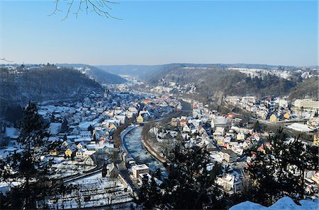 small town snow - View of Sulz and Neckartal (Neckar Valley), Baden-Wurttemberg, Germany, Europe Stock Photo - Rights-Managed, Code: 841-06030927