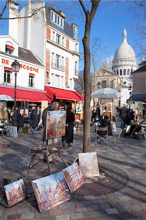 Paintings for sale in the Place du Tertre with Sacre Coeur Basilica in distance, Montmartre, Paris, France, Europe Stock Photo - Rights-Managed, Code: 841-06031227